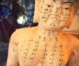 Muñeco con puntos de acupuntura
